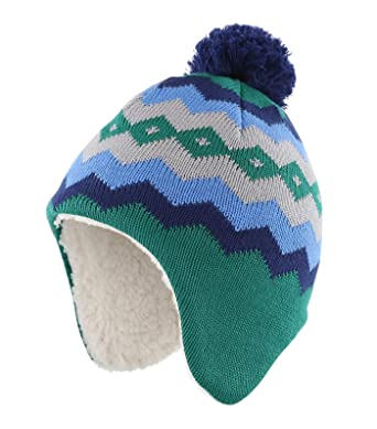 09d7a286289 Home Prefer Infant Baby Boys Girls Winter Hat Sherpa Earflaps Hat Knitted  Cap Small Green