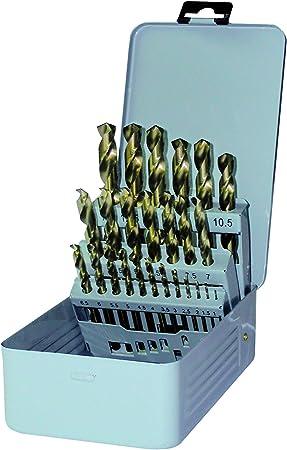 GERTUS 1915550 - Caja de metal con 25 brocas en espiral en DIN 338 HSS-CO 130°, diámetro 1-13,0 x 0,5 mm: Amazon.es: Bricolaje y herramientas