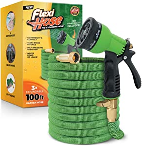 Flexi Hose with 8 Function Nozzle, 100 ft. Lightweight Expandable Garden Hose, No-Kink Flexibility, 3/4 Inch Solid Brass Fittings and Double Latex Core, Green