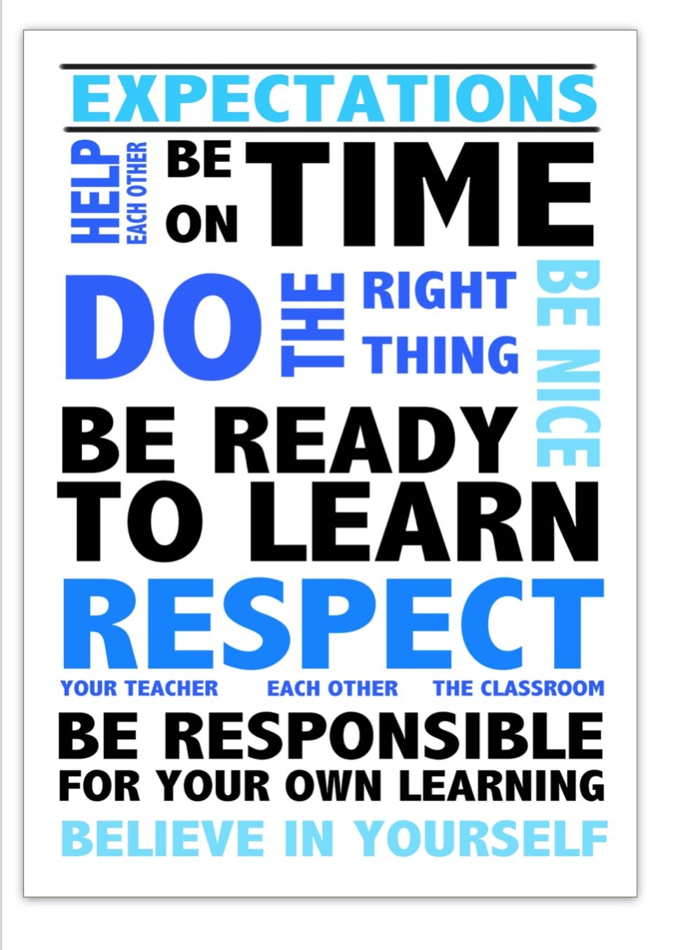 Classroom aspettative A2Poster adatto per insegnanti di scuola secondaria e primaria InstantPrint