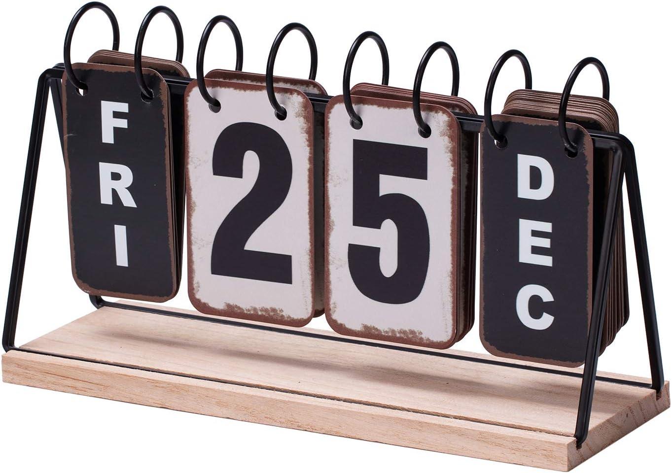 Daily Office Metal Flip Desk Calendar Perpetual Wood Vintage Calendar For Home Decor - Monthly Weekly Year Planner Standing Kitchen Desk Decor Wood Calendar