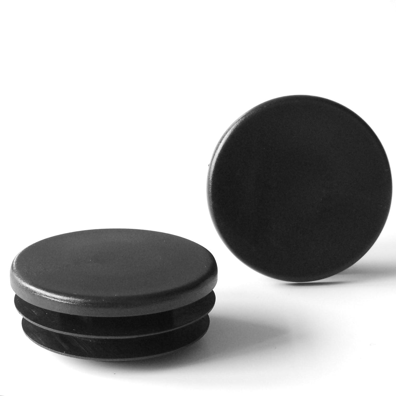 Contera redonda acanalada para tubos ajile NEGRO di/ámetro 60 mm 4 piezas EPR160-M