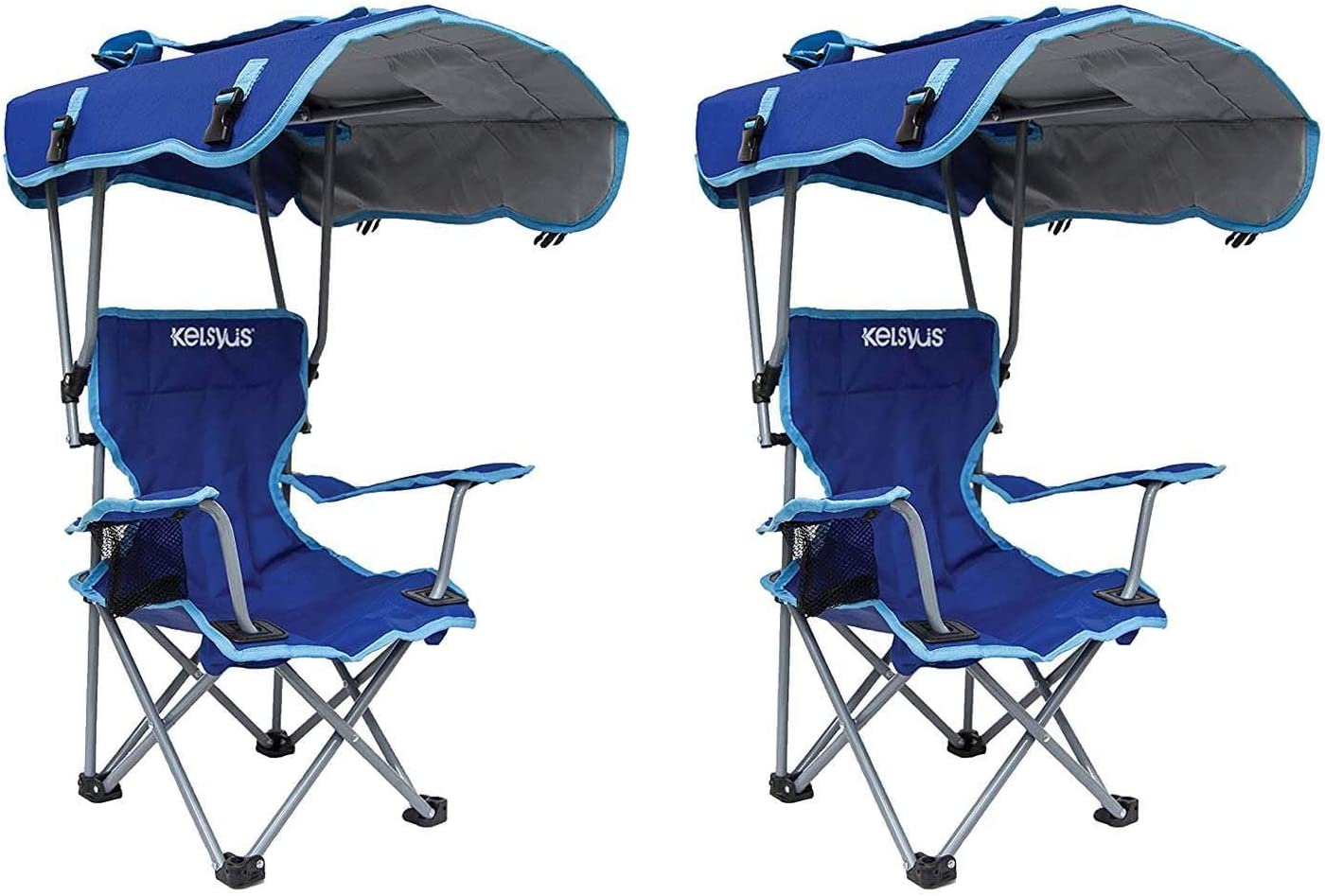 Kelsyus Kids Original Canopy Folding Backpack Lounge Chair 2 Pack Blue 80316