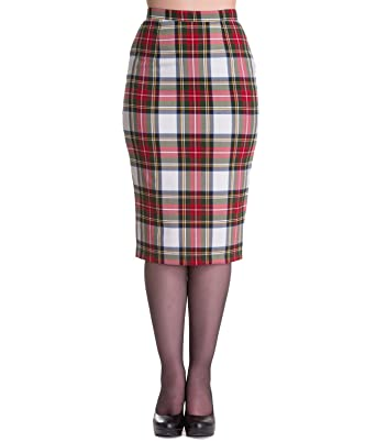 7f23fd281 Hell Bunny 50's Jodie Tartan Pencil Skirt: Amazon.co.uk: Clothing