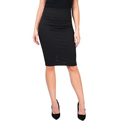 Women High Waisted Pencil Midi Bodycon Skirt Ladies Stretch Fitted Work Party at Women's Clothing store
