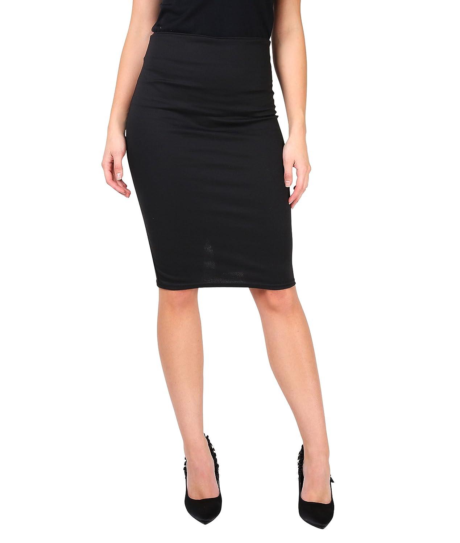 KRISP Women Office Skirt Bengaline Belted Smart Pencil Midi 5573