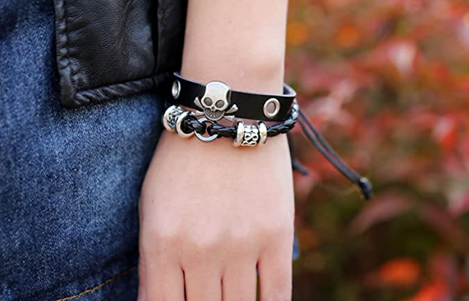 TEMEGO Jewelry Mens Stainless Steel Leather Bracelet Gothic Skull Casted Grim Reaper Bangle Silver Black Brown