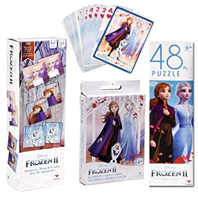 Frozen II Puzzle, Matching Game and Jumbo Playing Card Gift Set - Frozen 2 Stocking Stuffer Bundle: Toys & Games