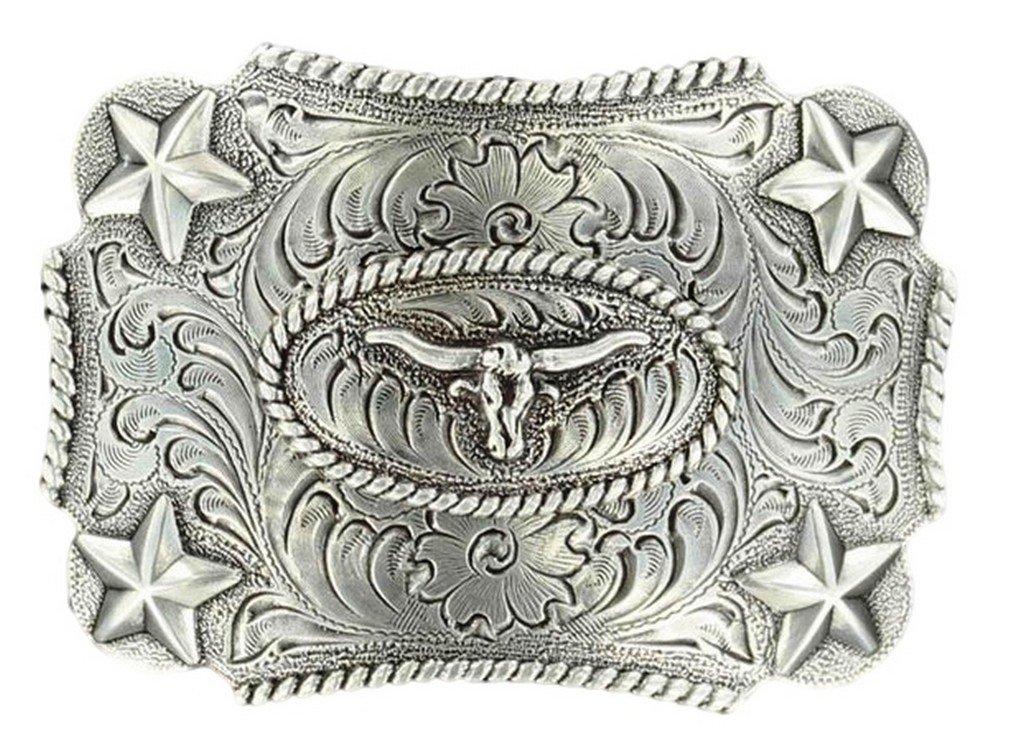 M F Western Products Boys Kids Longhorn Buckle Silver