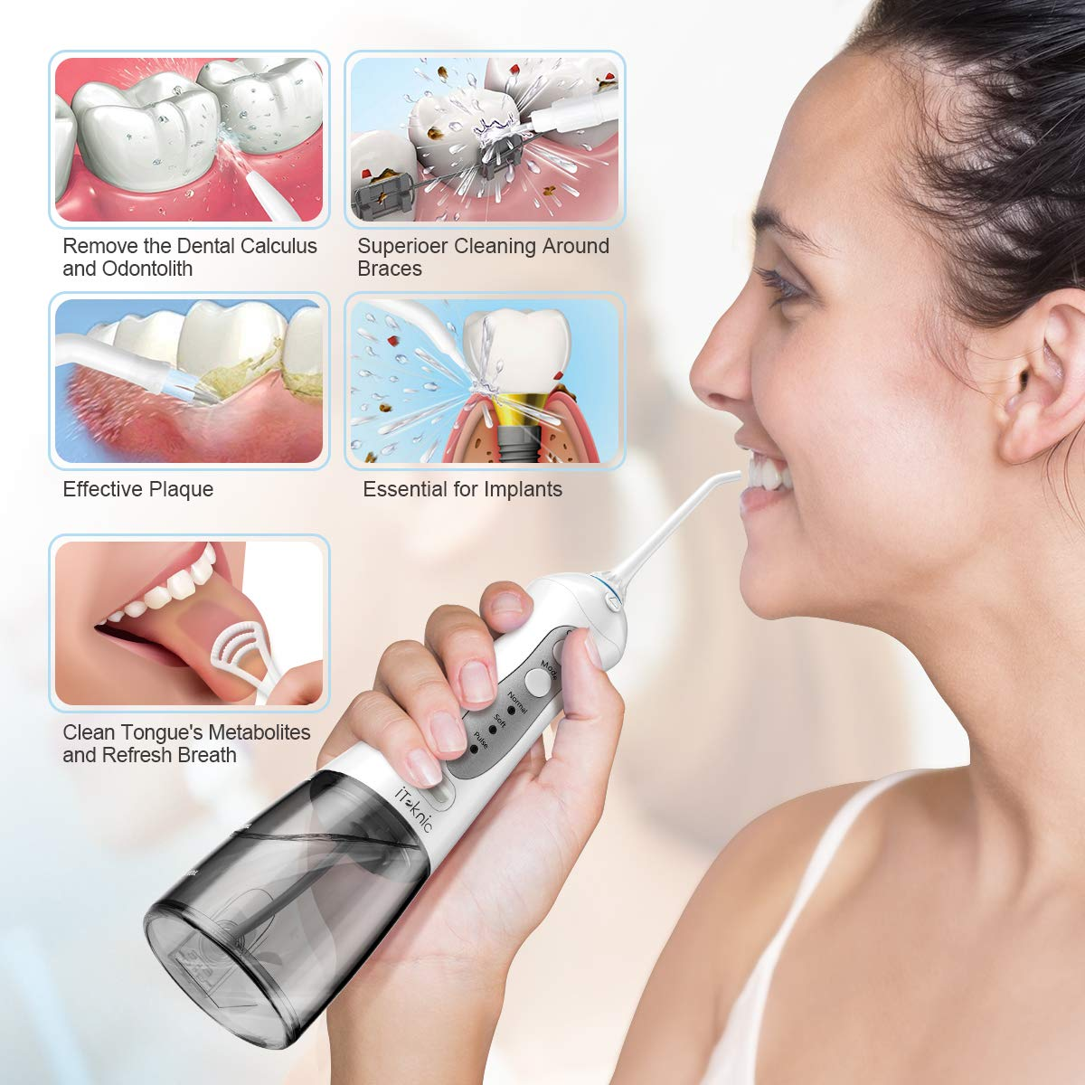 Water Flosser Teeth Cleaner, iTeknic Professional Cordless Dental Oral Irrigator 300ML Portable and Rechargeable IPX7 Waterproof 3 Modes Water Flossing with 5 Jet Tips for Home and Travel- Grey