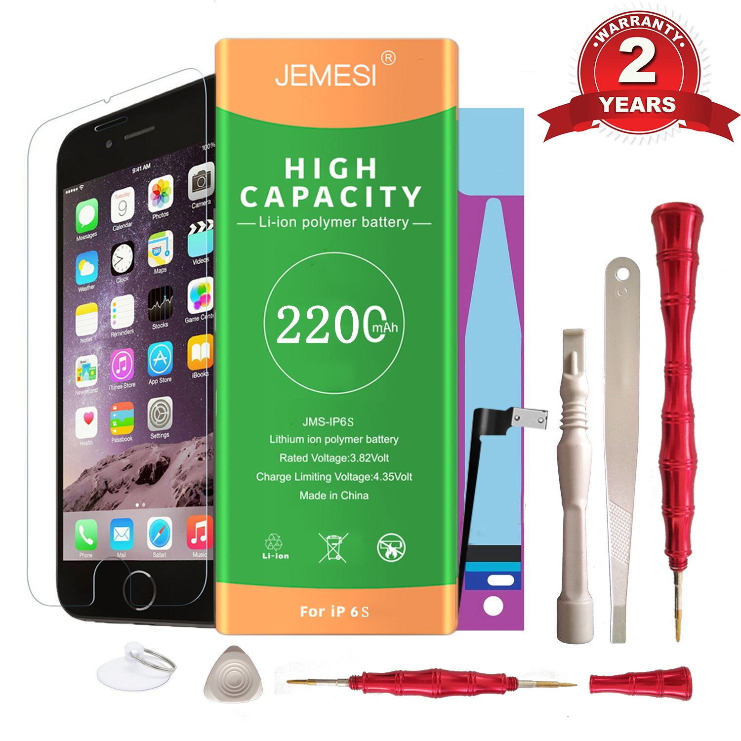 JEMESI Battery for iphone 6s with Repair Tools Kits - Instructions and Screen Protector,Brand New 0 Cycle Battery Replacement [24-month warranty]