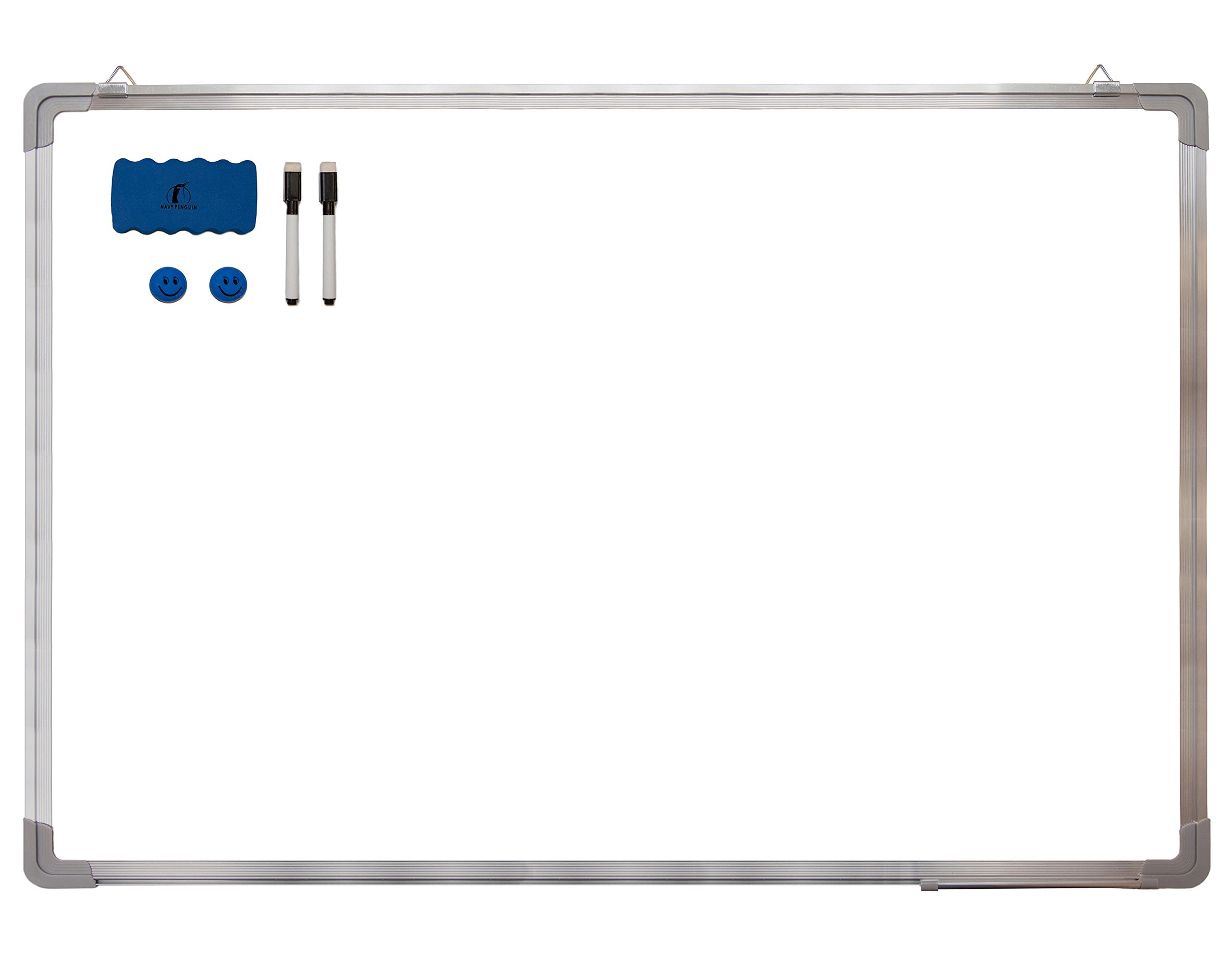 Whiteboard Set - Dry Erase Board 35 x 24 + 1 Magnetic Dry Eraser, 2 Dry-erase Black Marker Pens And 2 Magnets - Large White Hanging Message Scoreboard For Home Office School (35x24 Landscape)