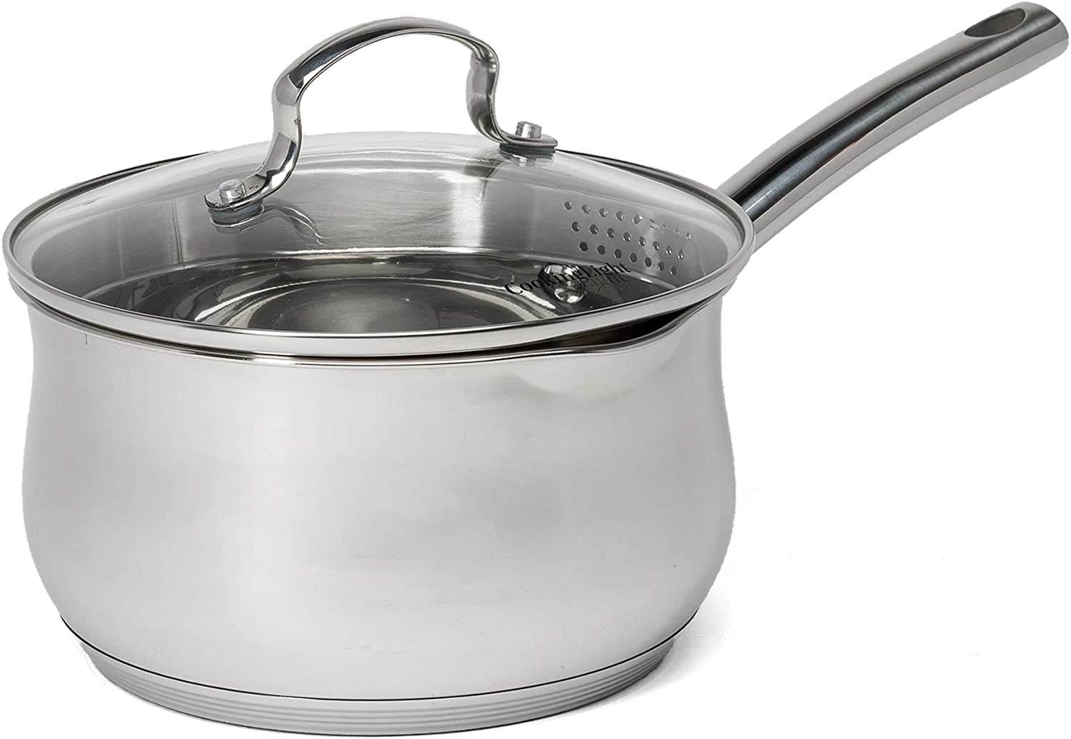 Cooking Light Stainless Steel Saucepan, Classic Belly Shape Cookware, Dishwasher and Oven Safe Pots and Pans, 3 Quart