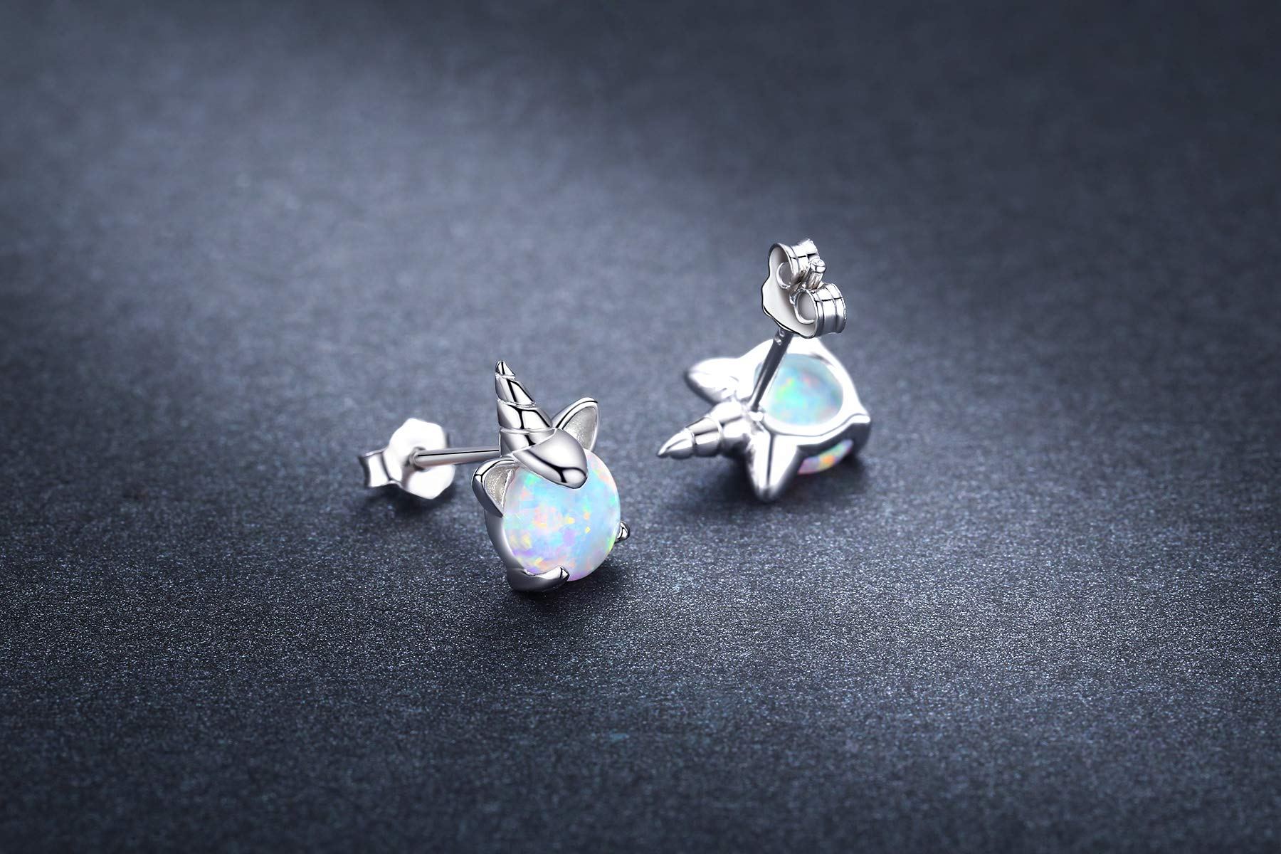 Hypoallergenic Unicorn Earrings S925 Sterling Silver Animal Earrings Synthetic Opal Stud Cute Birthday Gift for Her 6