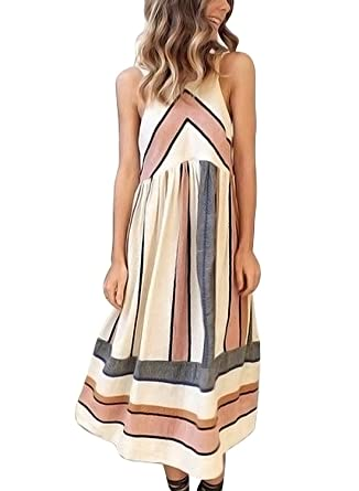 FARYSAYS Women s Casual Striped Sleeveless Halter Neck Summer Midi Dress  with Pockets at Amazon Women s Clothing store  66b0a348a
