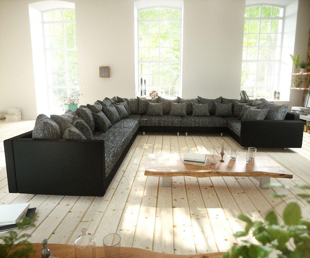 Couch Clovis Xxl Schwarz Mit Armlehne Ottomane Links Wohnlandschaft
