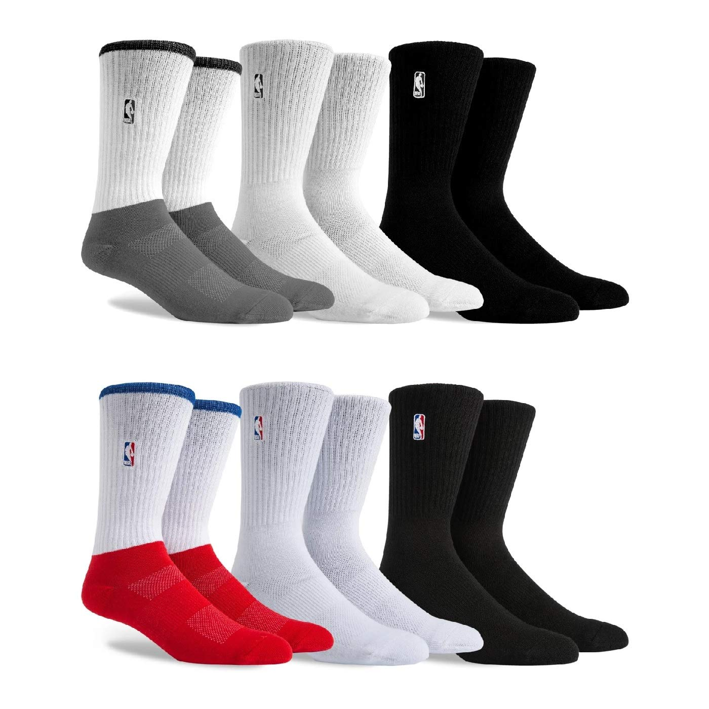 PKWY Mens NBA Logoman Mixed 6-Pack Crew Socks