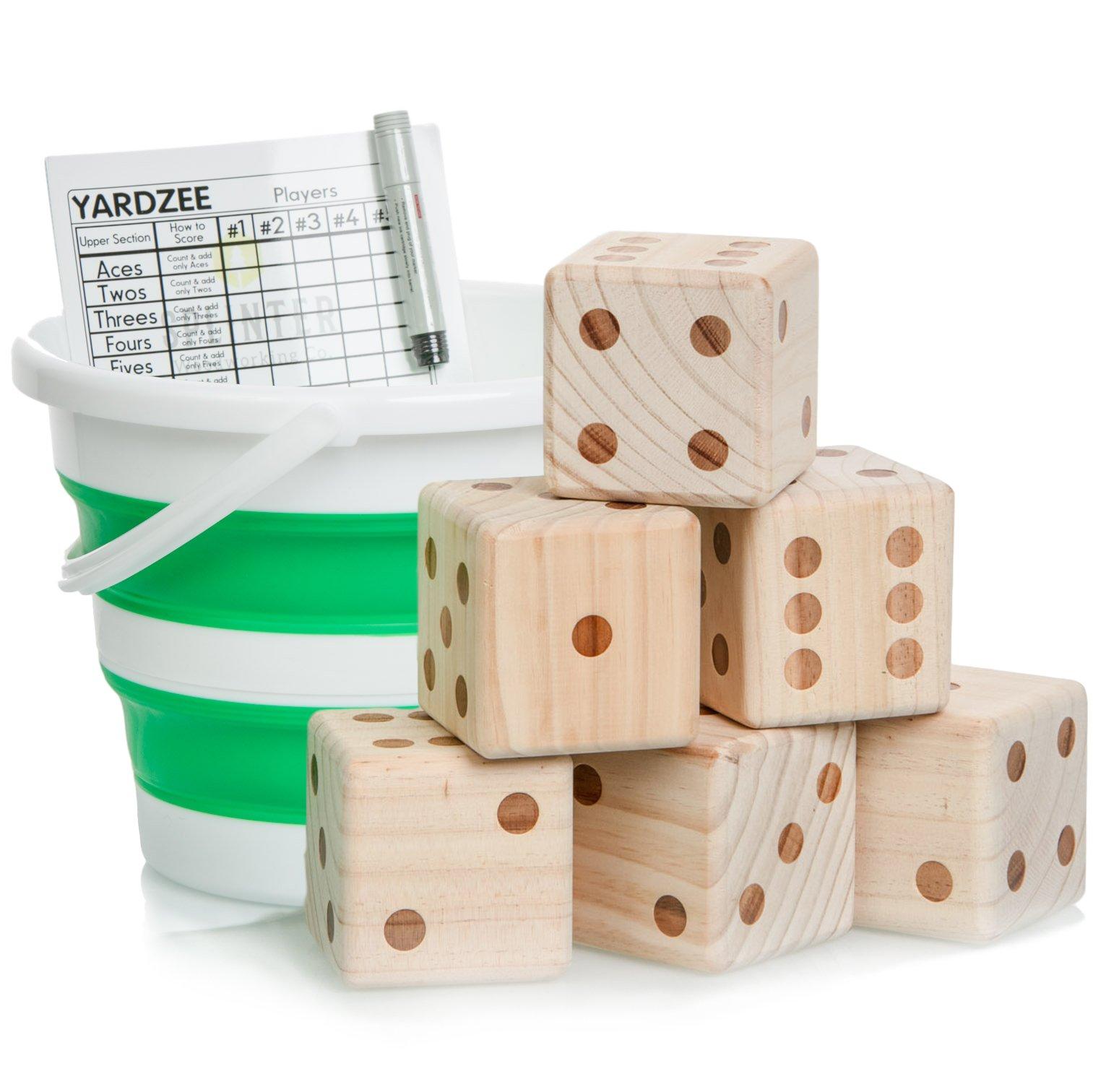Yardzee & Yardkle Giant Yard Dice Set (6 Dice) with Collapsible Bucket, Big Laminated Score Cards, & Dry Erase Marker | Backyard Lawn Game for Kids, Adults, & Family | Indoor & Outdoor