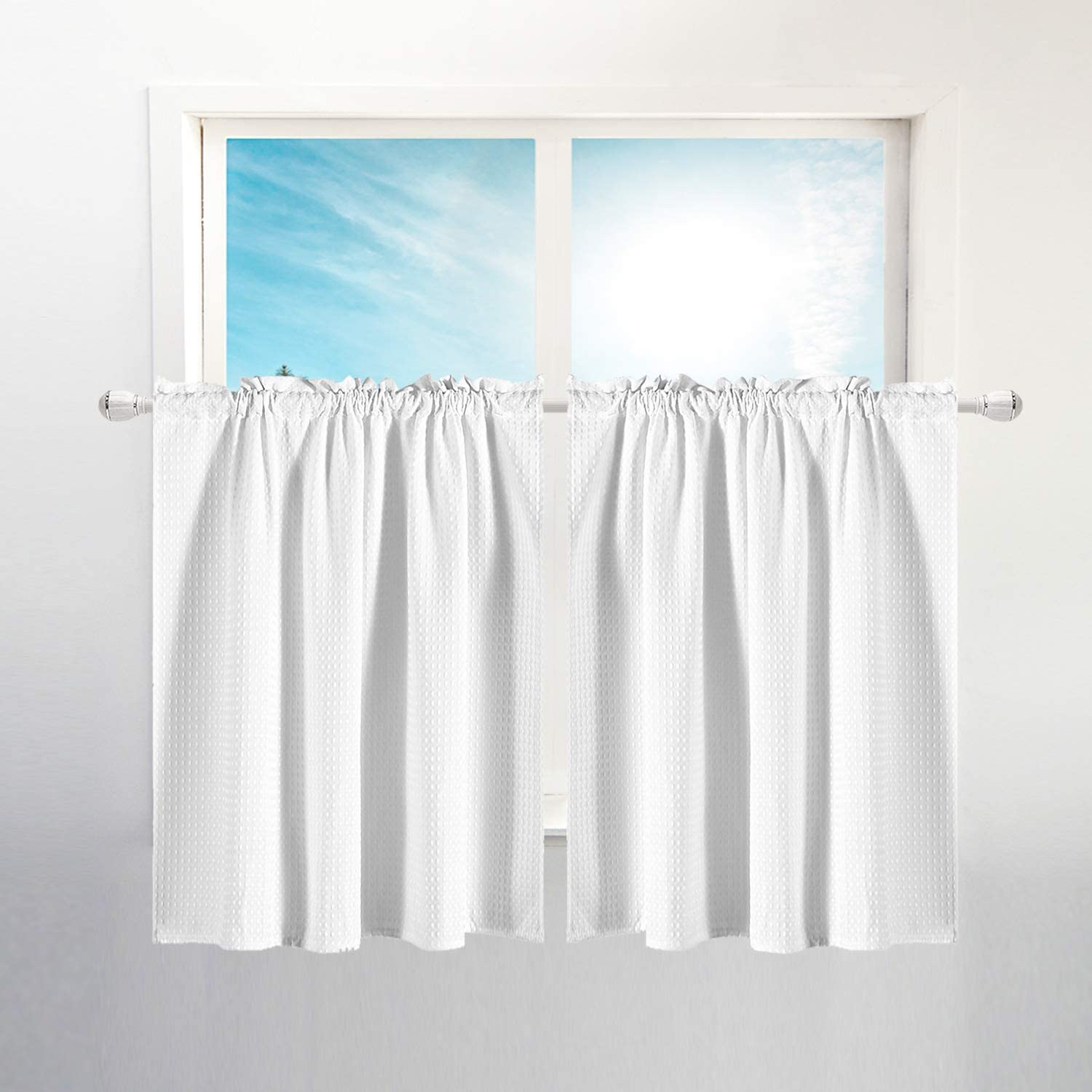 Amazon Com Waffle Weave Half Window Tier Curtains 36 Inch Short Length For Small Window In Kitchen Bathroom Waterproof And Washable White 36 X36 For Each Panel Set Of 2 Kitchen