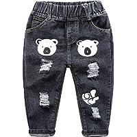 WanYang Pantalones Estampados Bebés Niños Los Niños Vaqueros del Agujero 1–6 Años