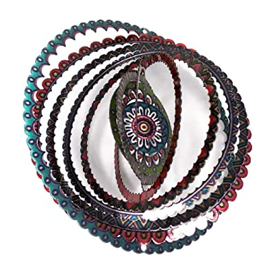 WorldaWhirl Whirligig 3D Wind Spinner Hand Painted Stainless Steel Twister Mandala (6.5 Inch, Multi Color 1) : Garden & Outdoor