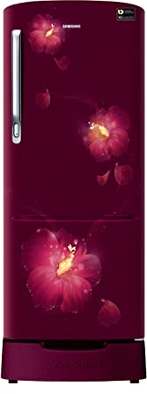 Samsung 192 L 3 Star Direct Cool Single Door Refrigerator(RR20N182ZR3/HL, RR20N282ZR3/NL, Rose Mallow Plum, Base Stand with Drawer, Inverter Compressor)