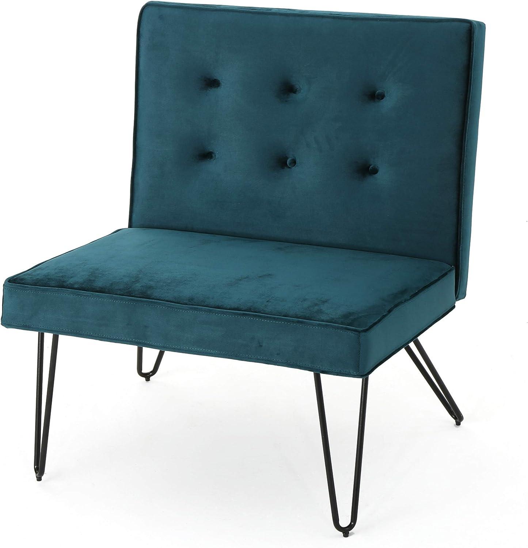 Christopher Knight Home 300808 DuSoleil Velvet Mid Century Modern Armless Hair Pin Leg Chair (Teal)