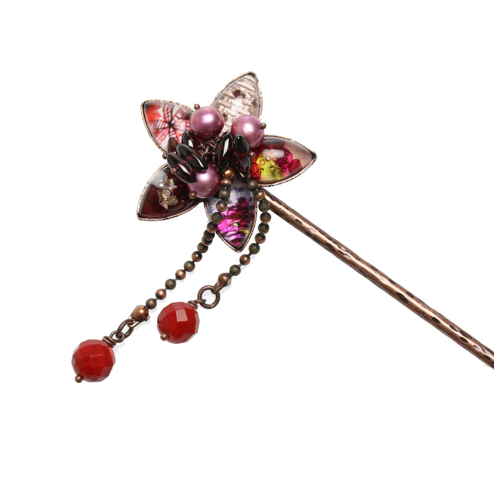 Tamarusan Hair Pin Flower Coral Freshwater Pearl Garnet One Flower Inserted Pink Red Resin