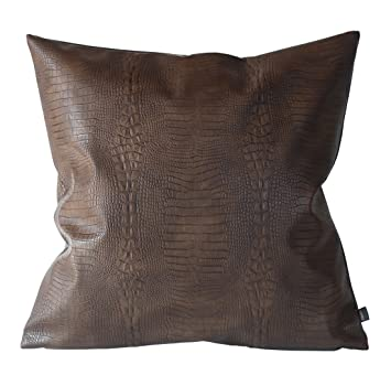 Kdays Dark Brown Crocodile Skin Thick & Soft Faux Leather Pillow Cover Decorative for Couch Throw Pillow Case Brown Leather Cushion Modern Minimalist ...