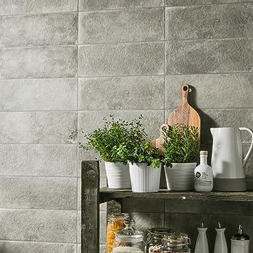 whisper dark grey stone effect ceramic wall 45x15 tiles per sqm