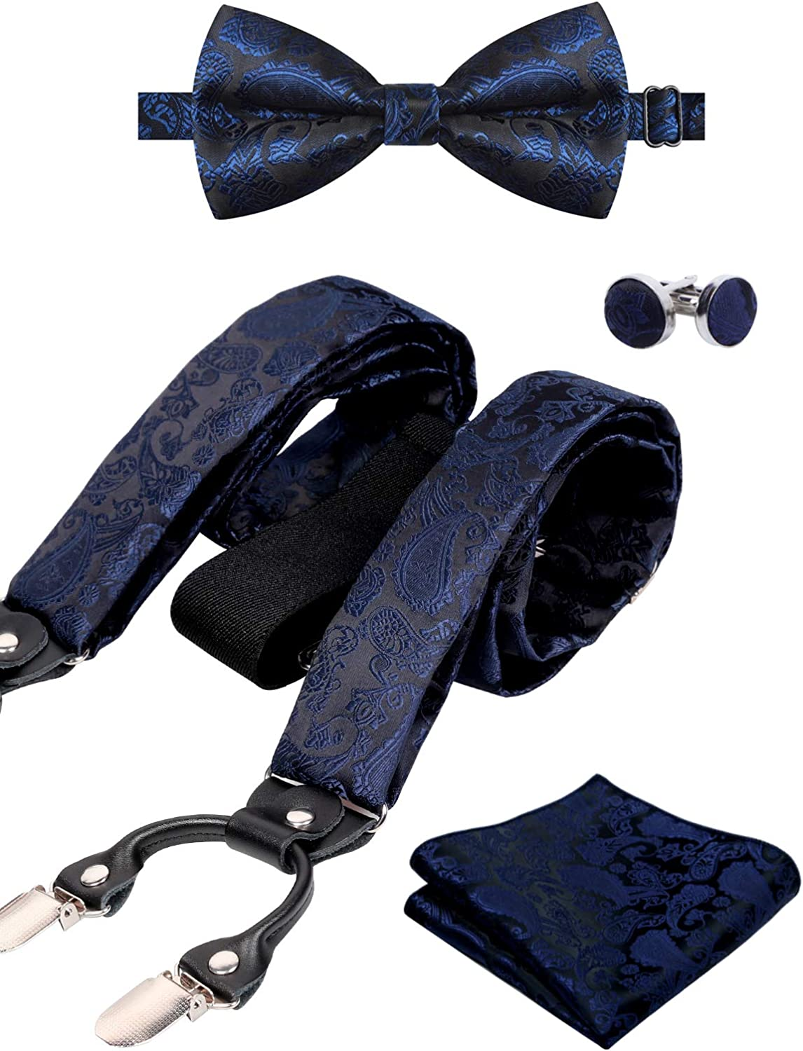 Hanky Alizeal Mens Paisley Braces and Bow Tie Cufflinks Set