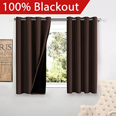 Flamingo P 100% Blackout Curtains 63 Length for Bedroom Linded Curtains 63 Inches Long Faux Silk Thermal Insulated Blackout Curtains with Black Liner 63 Inch Double Layer Curtain Set 2 Panels, Brown