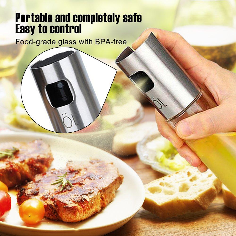 Olive Oil Sprayer for Cooking Food-grade Glass Vinegar Bottle Oil Mister Dispenser for BBQ Salad Roasting Baking Grilling Frying Kitchen by Herimend (Image #2)