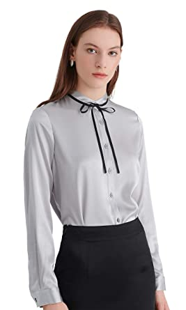 afbbb1b3ad031 LilySilk Silk Blouse for Women and Ladies Long Sleeve Sleek Tie Collar Neck  Buttons Front Office