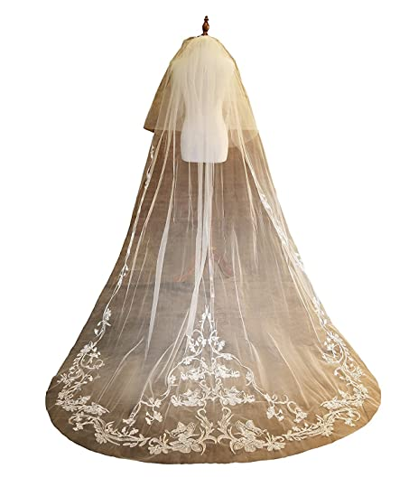 LynnBridal Two Tier Chapel Wedding Veil With Embroidered Embellishment