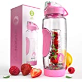 Infusion Pro 32 oz Infuser Water Bottle With Fruit Infuser - Insulated Sleeve & Fruit Infused Water eBook : Bottom Loading, L