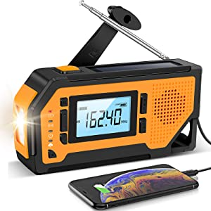Emergency Solar Hand Crank Radio- Aiworth AM/FM/NOAA Weather Radio with Large LCD Display, Portable Hurricane Survival Radio with LED Flashlight, Reading Lamp, 2000mAh Cell Phone Charger, SOS Alert