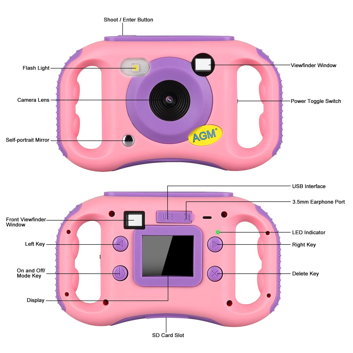 AGM Kids Camera for Girls & Boys, 1.77Inch Children Video Recorder Toddler Digital Camera,Creative Birthday Children's Day Gifts (Pink) by AGM (Image #5)