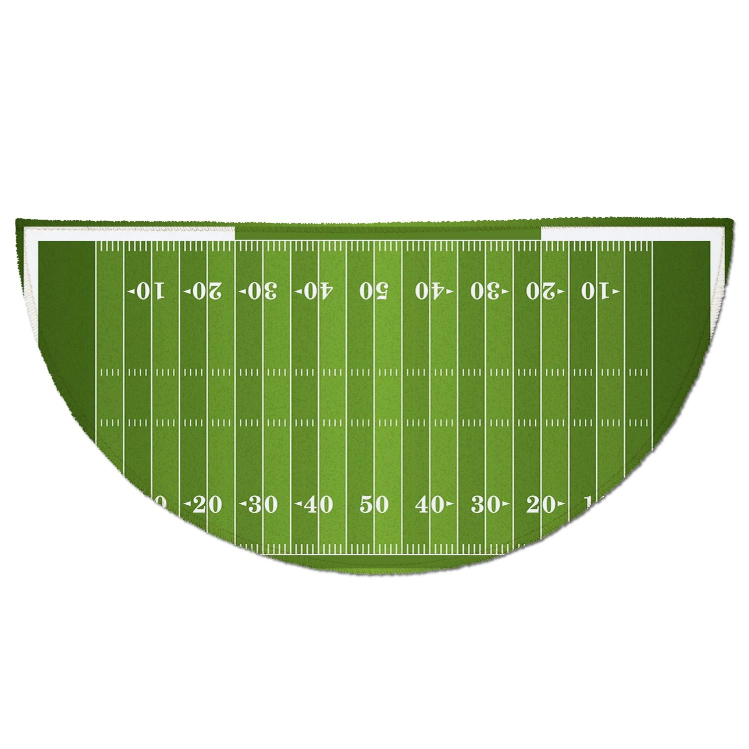 Half Round Door Mat Entrance Rug Floor Mats,Football,Sports Field in Green Gridiron Yard Competitive Games College Teamwork Superbowl,Green White,Garage Entry Carpet Decor for House Patio Grass Water