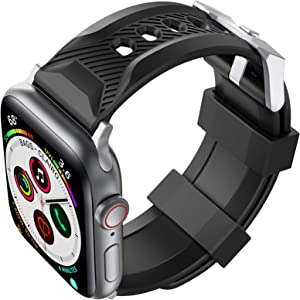 AhaStyle Sport Band for Apple Watch 44mm 42mm, Soft Silicone Strap Wristband Replacement Compatible with Apple Watch Series SE 6 5 4 3 2 1 for Women Men(Black, 42mm/44mm)