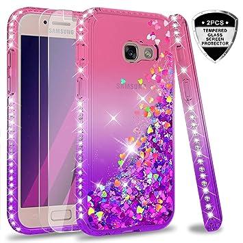 LeYi Compatible con Funda Samsung Galaxy A3 2017 Silicona Purpurina Carcasa con [2-Unidades Cristal Vidrio Templado],Transparente Cristal Bumper ...