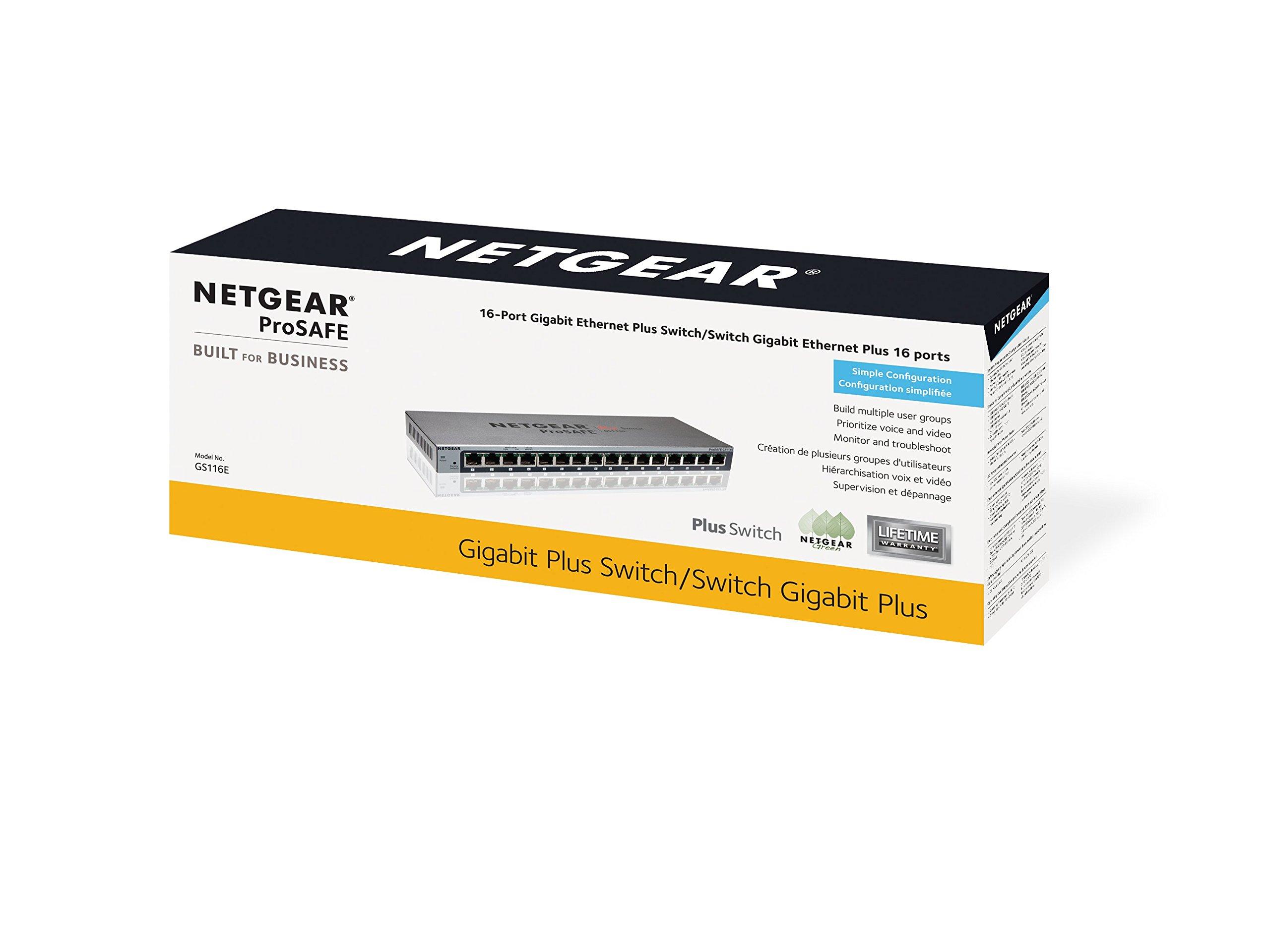 NETGEAR 16-Port Gigabit Smart Managed Plus Switch, ProSAFE Lifetime Protection (GS116Ev2) (GS116E-200NAS)