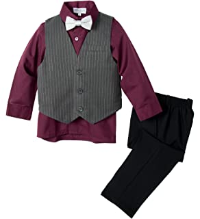 Azzurro Boys Kids Toddlers Formal 3 Pc Slim Fit Pinstriped Dress Suit 9847