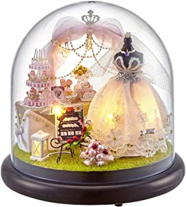 AUNMAS DIY Handcraft Buildings Wedding Dress Dollhouse Wedding Ceremony Mini House Kit with LED Lights and Glass Cover Home Decoration Gift(1#)