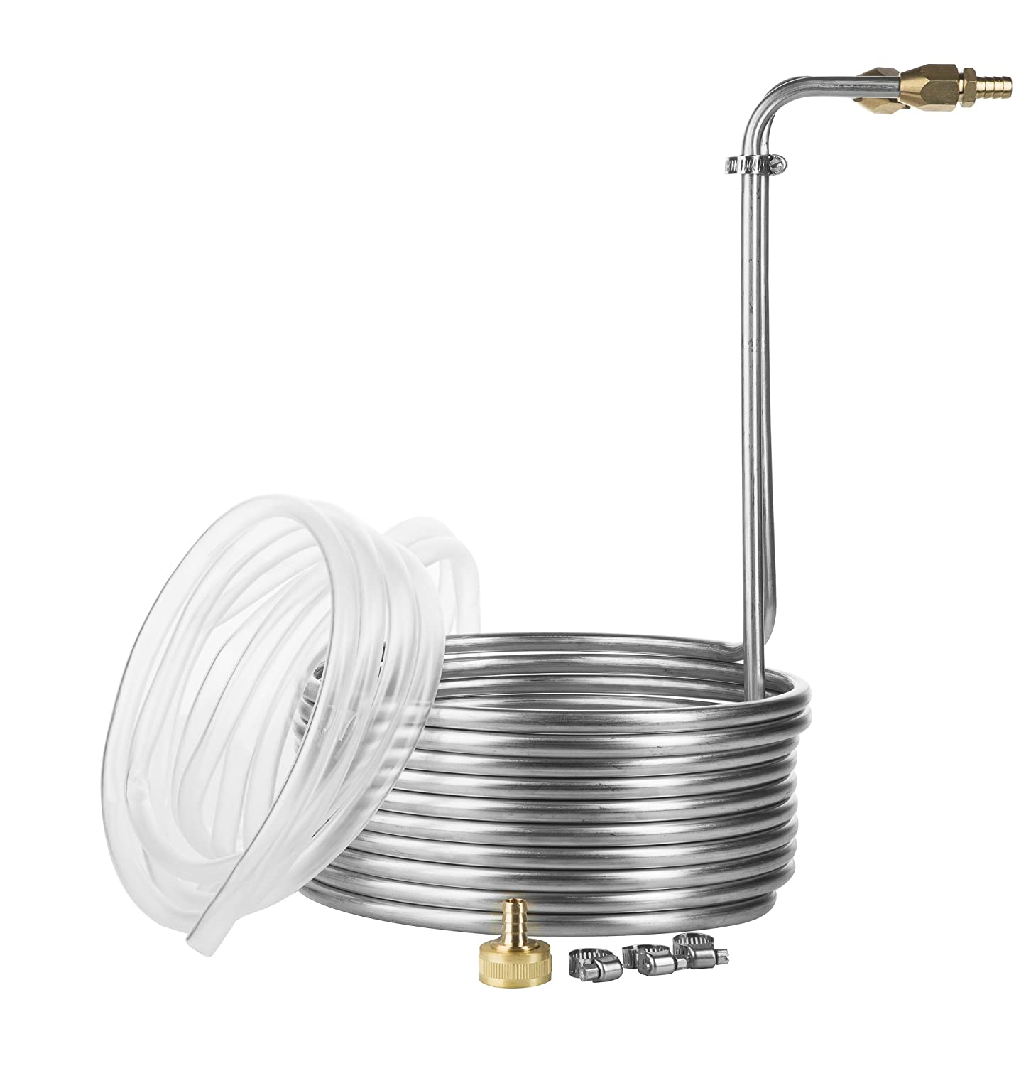 25 Foot Stainless Steel Immersion Wort Chiller with No-leak Fittings and Accessories JockeyBox.com WC-25SS38