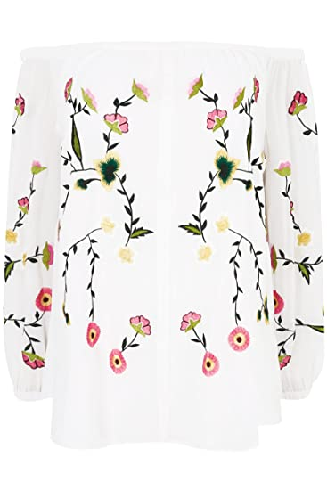 2ab15e040e12a Yours Clothing Women s Plus Size London Floral Embroidered Bardot Top Size  16 White