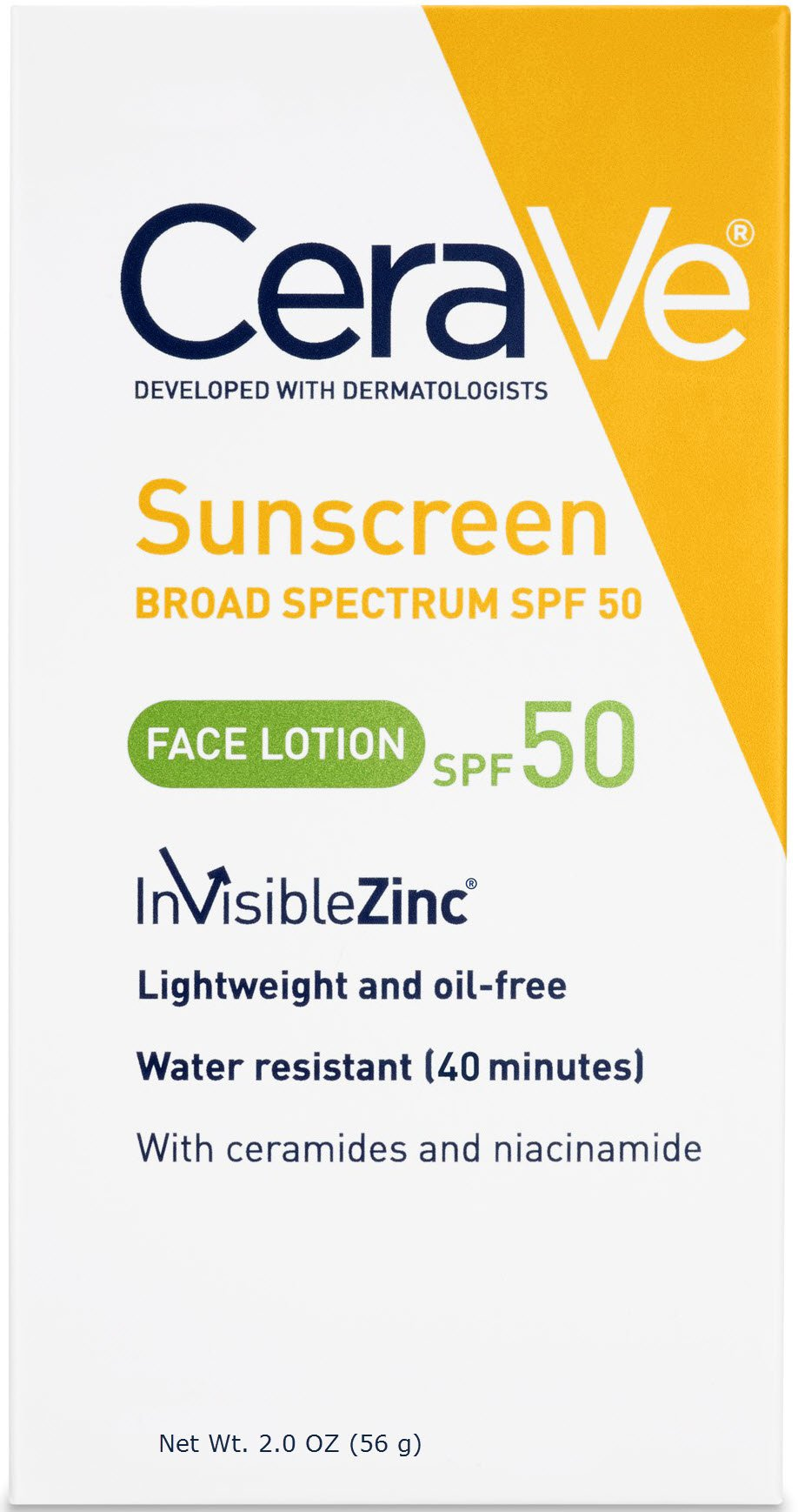 CeraVe Sunscreen Face Lotion SPF 50 2 oz with Zinc Oxide, Niacinamide and Ceramides for Broad Spectrum Sun Protection