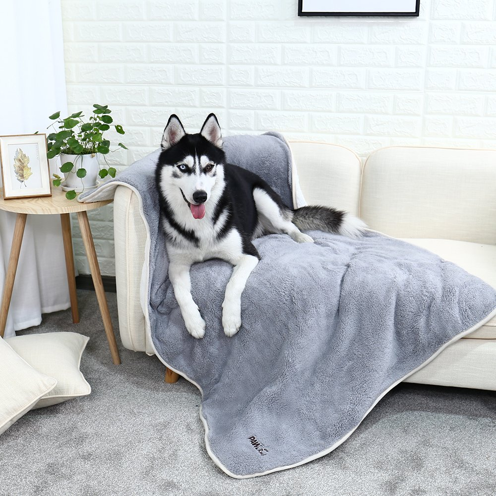 PAWZ Road Large Dog Blanket Fluffy Skin-Friendly and Warm,Double-Sided,No Shedding Blanket for Large and Medium Dogs and Cats-59''X39'' Grey
