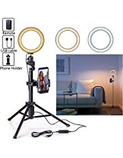 Rimposky 16 cm Selfie Ring Light with Tripod for YouTube/Live Stream/Makeup, Mini Led Camera Ringlight for Vlog/Video/Photography Compatible with iPhone Xs/Max/XR 8/7 Plus/X/Android