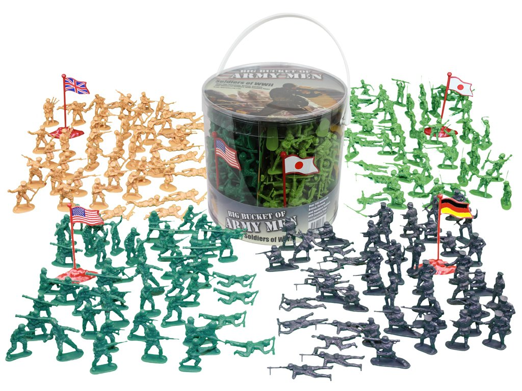 Army Men Action Figures -soldiers of WWII- Big Bucket of Army Soldiers - Over 200 Piece Set SCS Direct